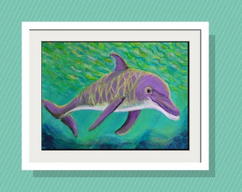 Kids Walll Art - Dolphin in Dappled Sunlight Art Print -10 x 14 Limited Edition - Beach Decor -Original Acrylic Painting