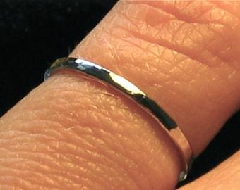 Hammered gold band, 14k White gold band, 1.5mm thin band, Organic textured ring, Womens wedding band, Simple wedding band, Mens wedding ring