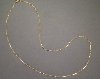 """18K Fancy Long and Short Chain 14"""" c1900 #43"""
