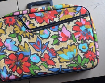 1960s MULTI Floral Vintage Suitcase  * Childrens Luggage * Travel Case