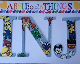 Boys Monogram Letters,Boys Room,Boys Wood Letters,Boys Room Decoration,Kids Room,Wood Letters,Cute Boys Room