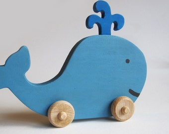 READY TO SHIP - Wooden Whale Push Toy