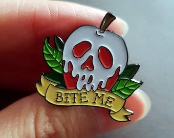 Poison apple snow white bite me enamel pin