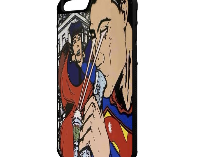 Superman Smoking Weed Hybrid Rubber Protective Phone Case