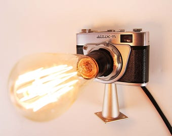 Camera lamp, Altix, lamp, vintage camera, industrial lamp, antique camera, steampunk lamp, assemblage art, light