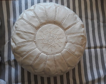 Handmade Moroccan Pouf White, Genuine Leather Ottoman Footstool, White Color (Unstuffed)