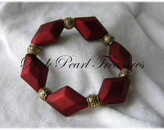 Burgandy Diamond stretch bracelet