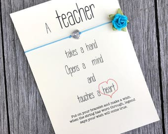 Teacher appreciation week, Teacher gifts, Thank you teacher, Gifts for teacher, Teacher bracelet, Teacher card, Teacher gift ideas, A2