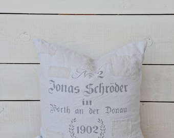 German Grainsack Style Pillow Cover with patches, 16x16, 18x18 or 20x20