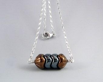 Small Minimalist Metallic Bar Necklace, Geometric Necklace, Autumn Fall Colored Jewelry