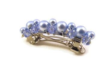 Light Blue Swarovski Crystal Pearl Barrette Choose Your Size