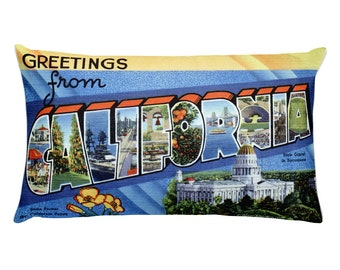Greetings from California Postcard Pillow 20x12 inches