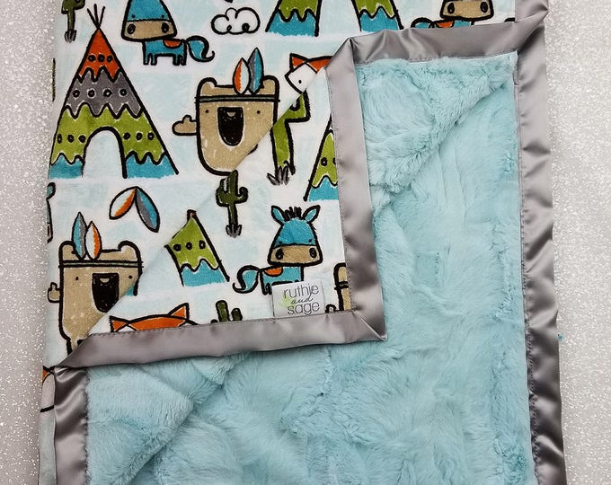READY TO SHIP Minky blanket, baby boy blanket, pow wow, teepee, woodland blanket, fox blanket, animal blanket, grey and aqua, cactus minky