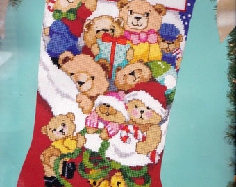 Repackaged Bucilla Jingle Bears Christmas Holiday Teddy Needlepoint Stocking Kit 60706 R