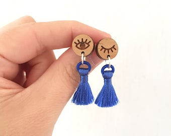 Santorini - Wood and Tassel Earrings with Sterling Silver posts - blue evil eye Greece - laser cut etched - womens ladies jewellery jewelry