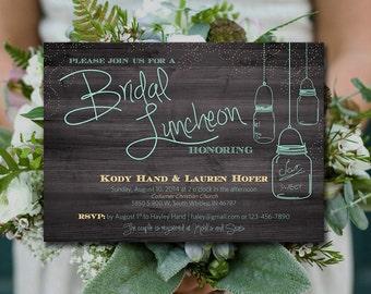 Rustic Bridal Luncheon Bridal Shower - Mason Jar Bridal Shower Invitation, Rustic Wedding Shower Word Template - Mint  | INSTANT DOWNLOAD