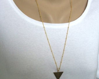 Brass Triangle Necklace, Long Layering Necklace, Geometric Jewelry, Gift for, Her