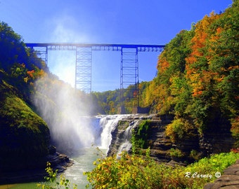 Upper Falls, Letchworth State Park, Renowned as the Grand Canyon of the East, Castile New York,Original Fine Art Photography