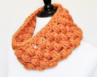 Orange Crochet Cowl, Orange Puff Stitch, Chunky Crochet Cowl, Bobble Neck Warmer, Infinity Scarf - Giant Bobble, Pumpkin, Carrot