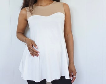 White Maternity Top with Sweetheart Detail - White and Tan Shirt - Strapless Look Maternity Shirt - White Maternity Shirt - Expecting Mom