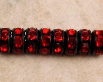 Bead, Rhinestone Rondelle, Jet Black, Light Siam Ruby Red, 7 mm, 12 Pc. C409-7