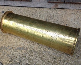 Trench Art, Artillery Shell, Militaria, French, Antique, Military Gifts, Field Artillery, Shell Casing, 1917 Shell Casing, WW1 Trench Art