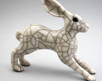 Leaping Hare - ceramic raku fired sculpture