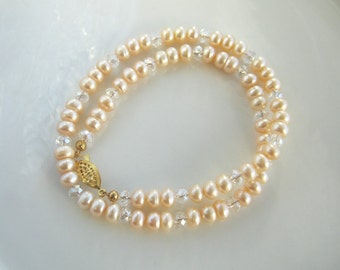 Light Apricot Freshwater Pearl Necklace (18 inches)