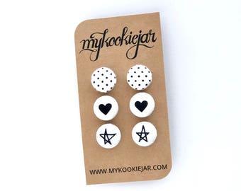 Black White Earrings, Pin Dots, Heart Earrings, Star Earrings, Monochrome Hearts, Star Studs, Black Studs, Monochrome Earrings, Nickel-free