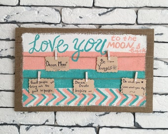 Memo board~ Photo holder~ Photo display~ Love wall decor~ To the moon and back~ In loving memory~ Memorial sign~Photo display~Rustic board
