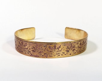 Cuff Bracelet, Etched Brass Cuff Purple Florishes - Free Domestic Shipping