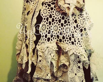 Summer Cape Bohemian Wedding Wrap Shabby Couture Art To Wear