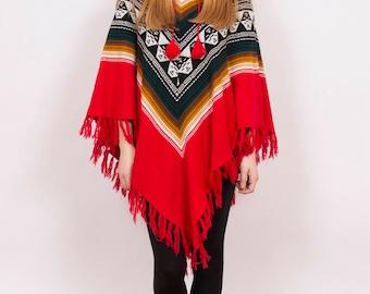 Vintage 1980's Aztec Poncho - www.brickvintage.com