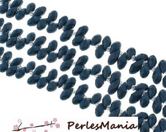 10 pearls drop faceted glass 6 by 13 mm teal blue color