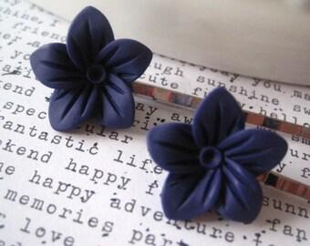 Navy Flower Bobby Pins, 2 Blue Hairpins, Wedding Bridal Hair Accessory, Hair Clip, Hair Slide, Stocking Stuffer, Small Gift, Gift for Women
