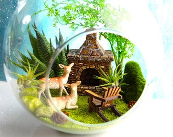 "Nature Terrarium Kit ~ 8"" Air Plant Terrarium Kit ~ Outdoor Chimney ~ Deer ~ Adirondack Chair ~ Sand choice ~ Gift ~ Christmas Gift"