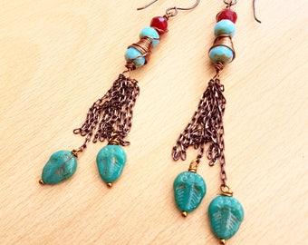 Turquoise colour earring, Lamp work earring, Dangle earring, Women's earring, Handmade jewellery, Trendy jewellery, Teenager jewellery, gift