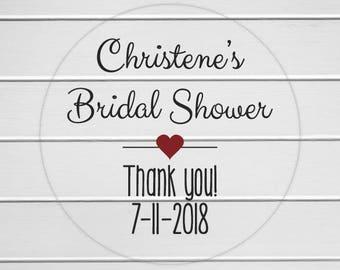 Bridal Shower Labels, Clear Transparent Wedding Shower Stickers, Bridal Favor Stickers (#006-C)