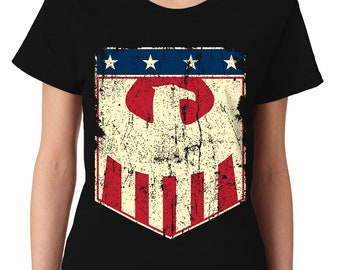 USA American Eagle Badge Patriotic Flag Patriotism 4th Of July United States Of America Constitution Womens T-Shirt OSF-0024