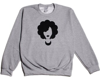 GraceFro Naturalista Gray Natural Hair Afro Girl Sweatshirt Long Sleeve Shirt Sweater