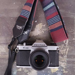 Mexican Blanket Camera Strap- Oxblood and Navy Baja Boho Style
