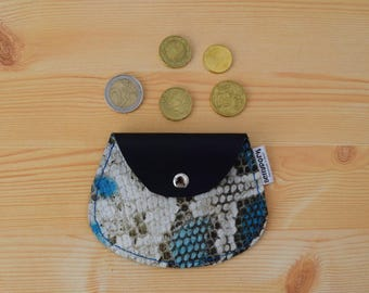 Leather coin purse,leather change purse,change purse leather,snake leather,snake coin purse,blue coin purse,mens coin purse,minimalist purse