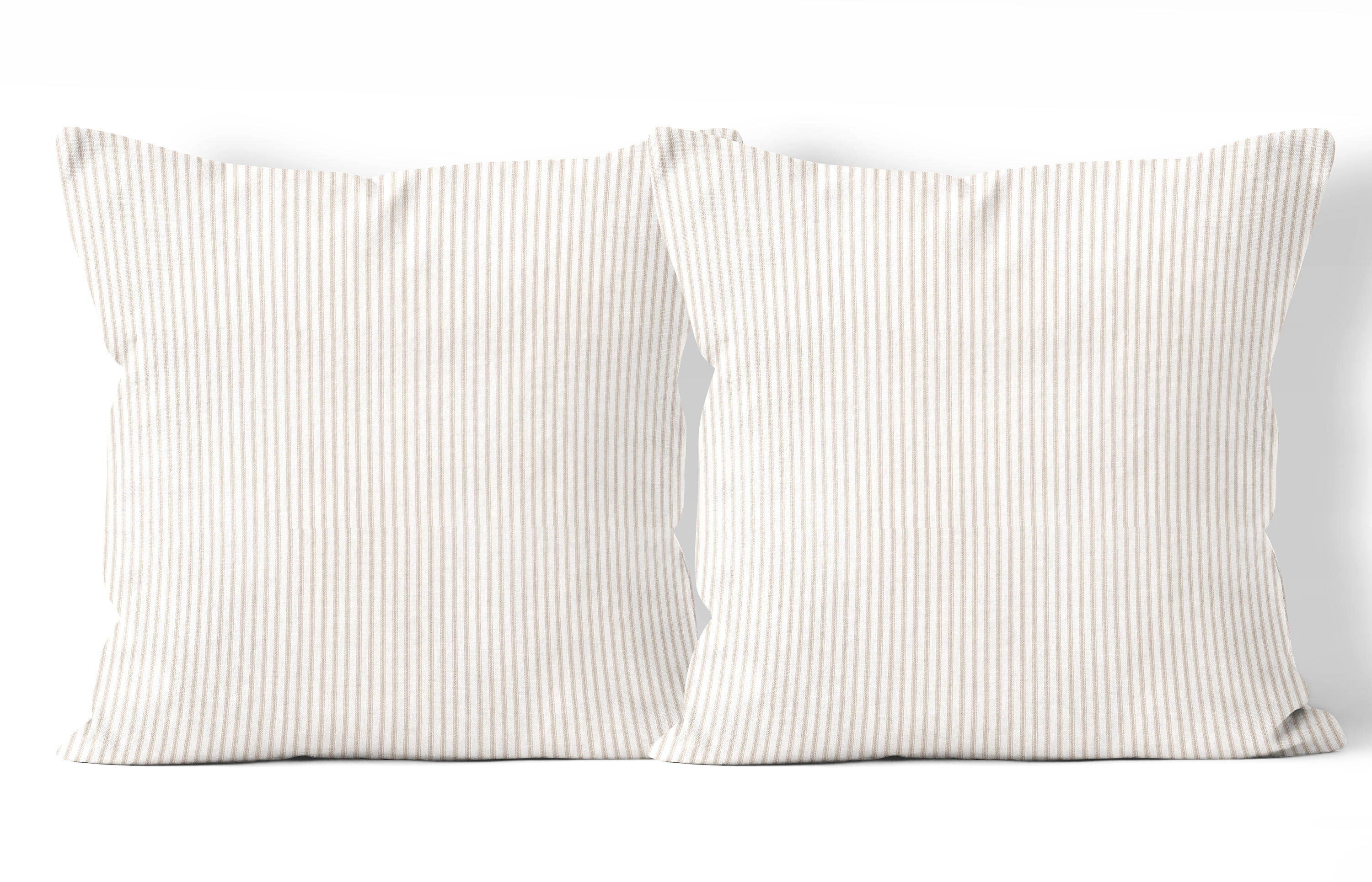 Farmhouse pillow covers 24x24 in set of 2, tan ticking pillow covers ...