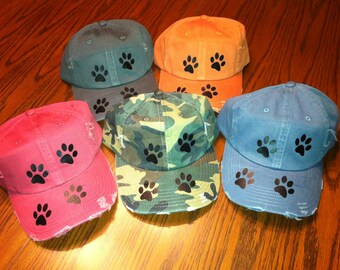 Paw print baseball hat - distressed