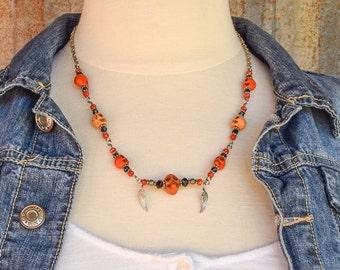 Skull Necklace / Skulls /Halloween Necklace / Gift For Her / Pumpkin Orange Skulls / Day of the Dead Necklace / Biker Necklace / Skull Beads