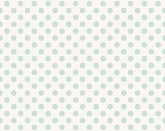 Blue Polka Dot/ Polka Dot Fabric/ Garden Girl Fabric/ Riley Blake Fabric/ Dot Fabric/ Mint and White/ Fabric by the Yard/ Cotton Fabric