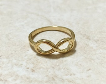 18K Gold Plated Ring, Infinity Ring, Love Ring, Minimalist Ring Simple Ring Delicate Ring, Timeless Ring, Women Ring, Tiny Fashion Ring