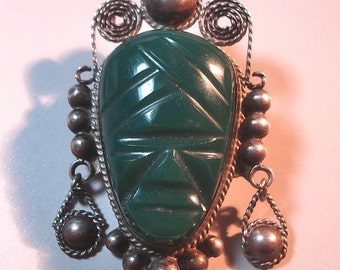 Vintage Mexican Jewelry Brooch Carved Onyx Stone Mask Sterling Silver 01992