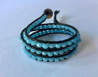 Cerulean Blue Glass Beaded Leather 3-Wrap Bracelet