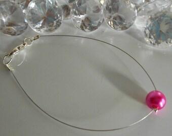 Wedding pearl bracelet fuchsia solitaire